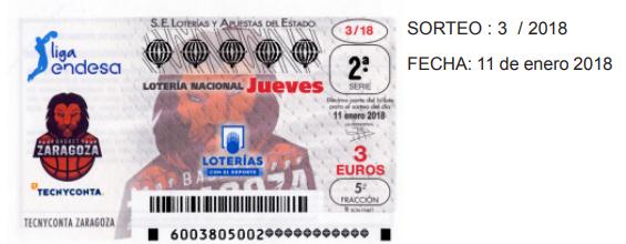detalle de los décimos de lotería del jueves 11 de enero de 2018