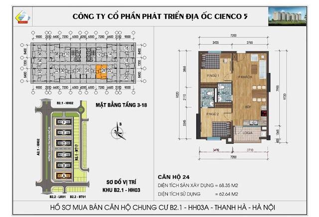 Sơ đồ thiết kế chi tiết căn hộ 24 chung cư B2.1 HH03 Thanh Hà