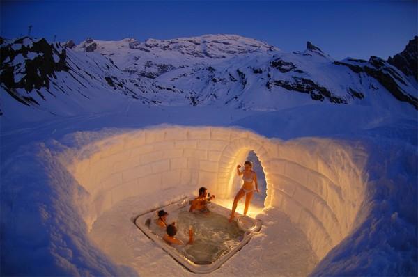 photography inspiration a hot tub inside igloo, switzerland