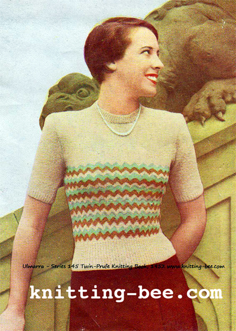 Free 1950 s Knitting Pattern - Ulmarra Short Sleeved Sweater 1c7b4a721