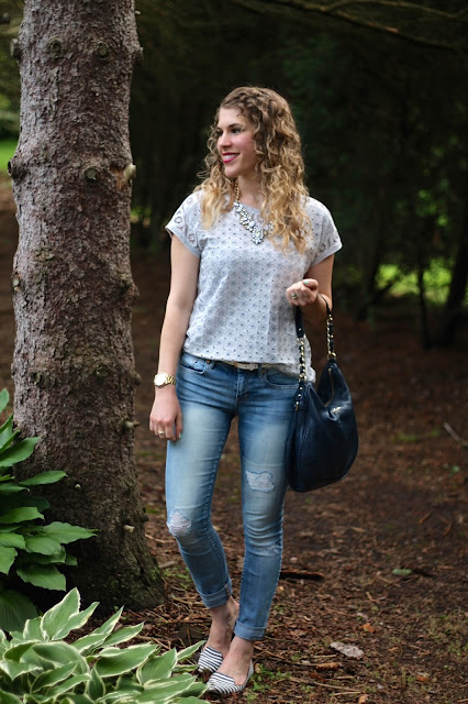 J.Crew grey eyelet top, distressed skinny jeans, striped flats, blue kate spade bag, white statement necklace