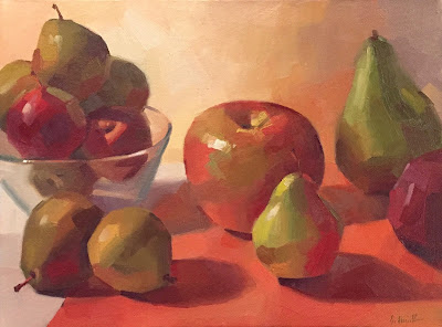 still life apples and pears by sarah sedwick