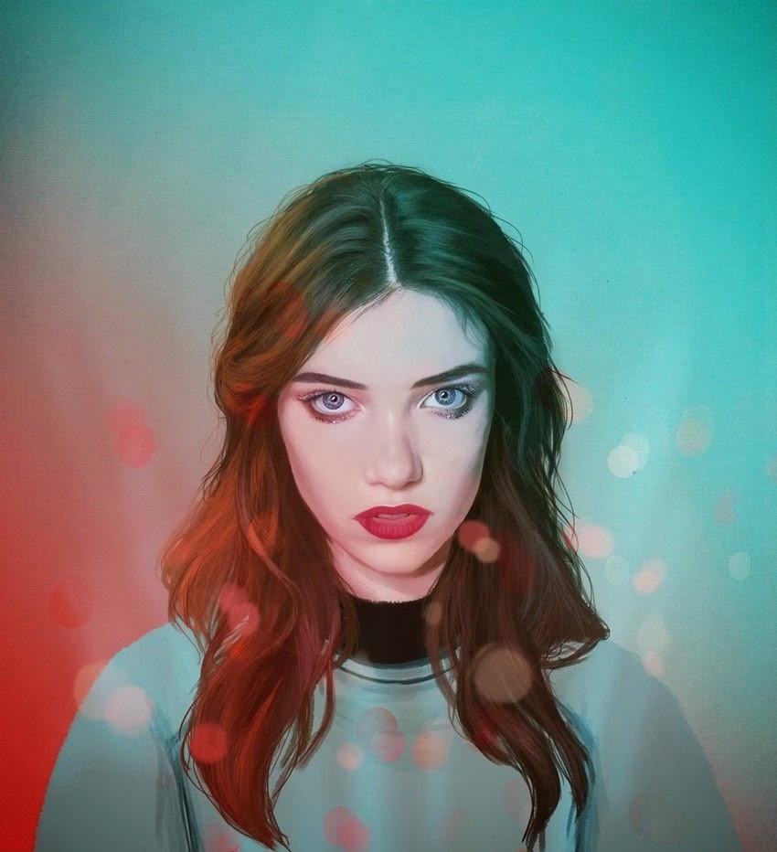 Retrato de mujer bonita con ojos azules