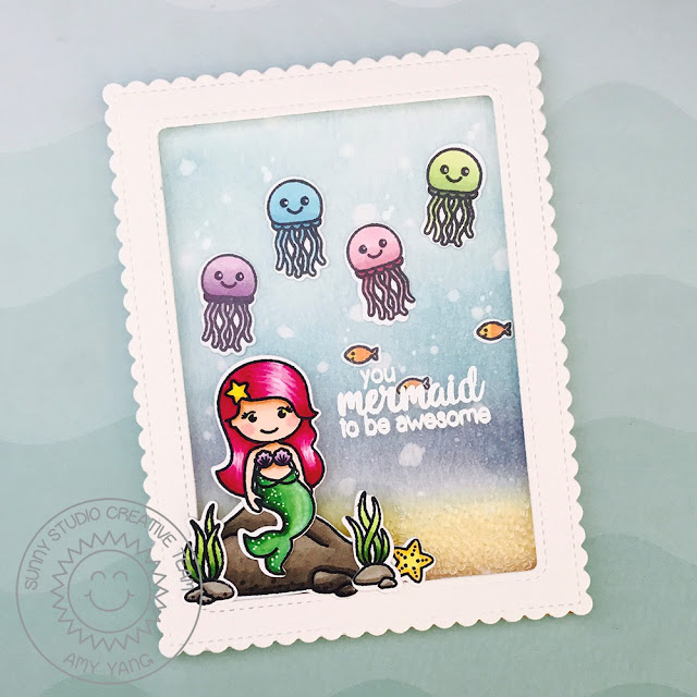 Sunny Studio Stamps: Magical Mermaid Suspended Shaker Mermaid Card by Amy Yang
