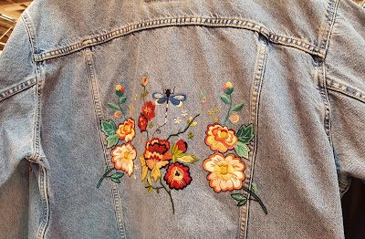 Embroidered, embellished denim jacket