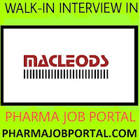 Macleods Pharmaceuticals Ltd. Urgent Job Openings For M.Pharm, B.Pharm, M.Sc, B.Sc Any Graduate Candidates - Apply Now
