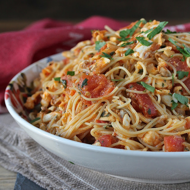 This Spicy Angel Hair Pasta with Halibut and Tomatoes is such a satisfying Mediterranean style dish.