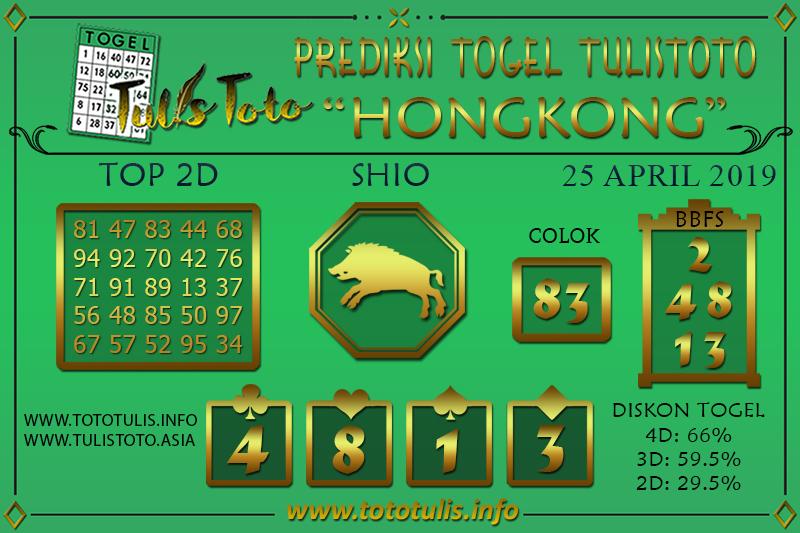 Prediksi Togel HONGKONG TULISTOTO 25 APRIL 2019