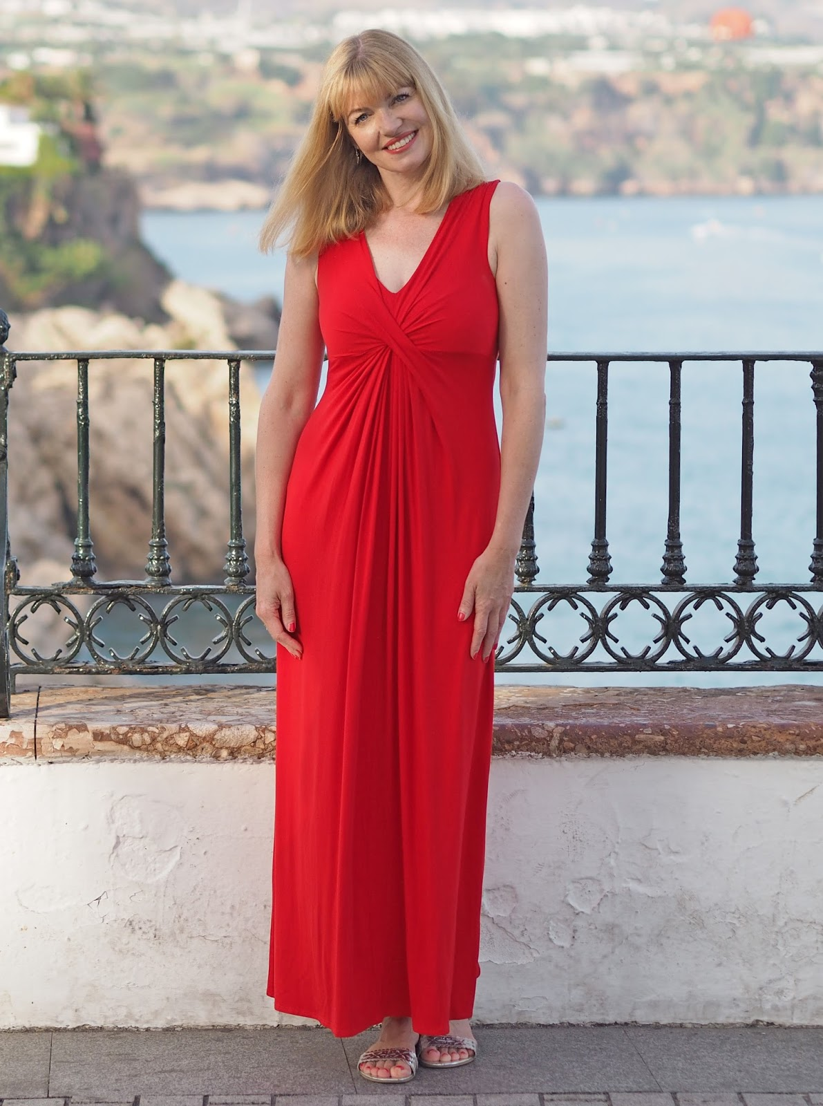 Red jersey maxi dress, Nerja