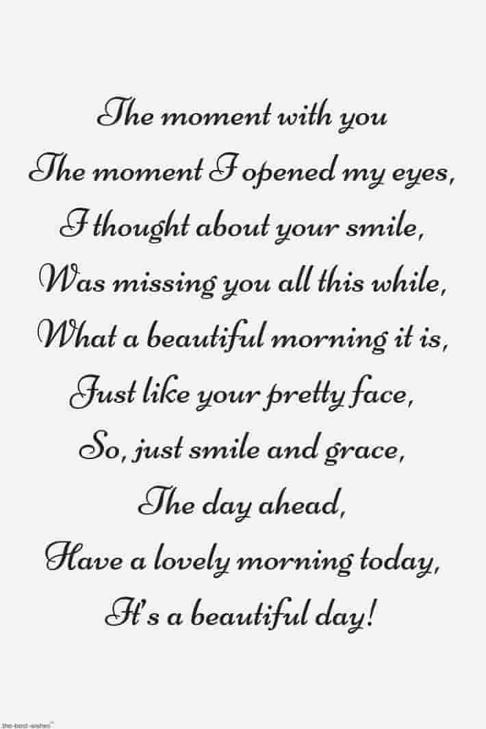 good morning poems for her to smile