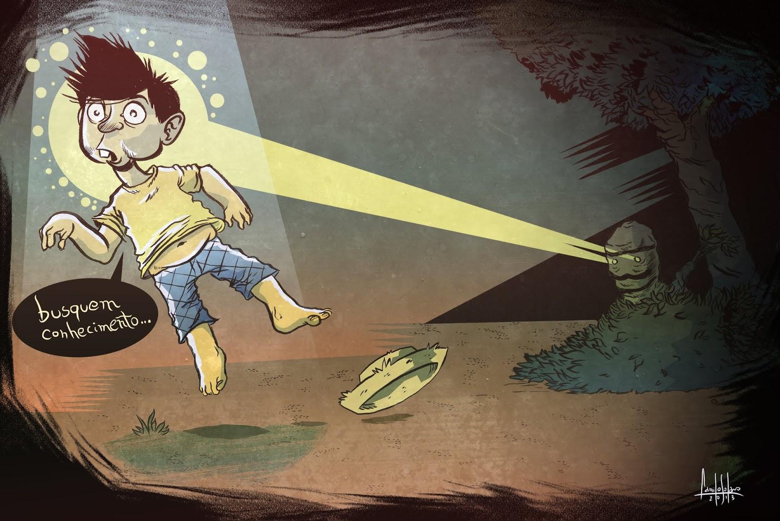 Ilustração do ET Bilu e Chico Bento