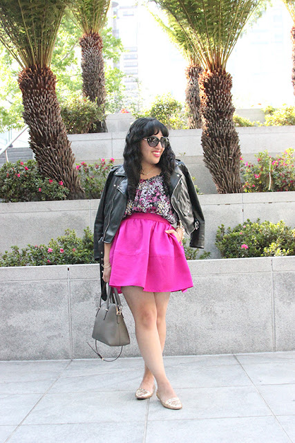 Edgy Pink Floral Outfit