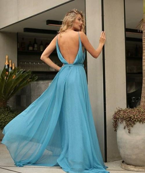 vestido longo azul