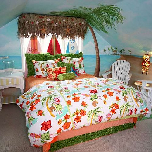 Hula Poodle by Davenport Home Furnishings  Tropical beach style bedroom decorating ideas - beach bedrooms - surfer theme rooms - tropical theme Hawaiian style decorating - raffia valance window ideas - tropical bedding - tropical wall murals - palm trees decor