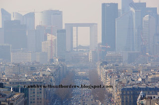View towards the Grand Arch from atop of Arc de Triomphe