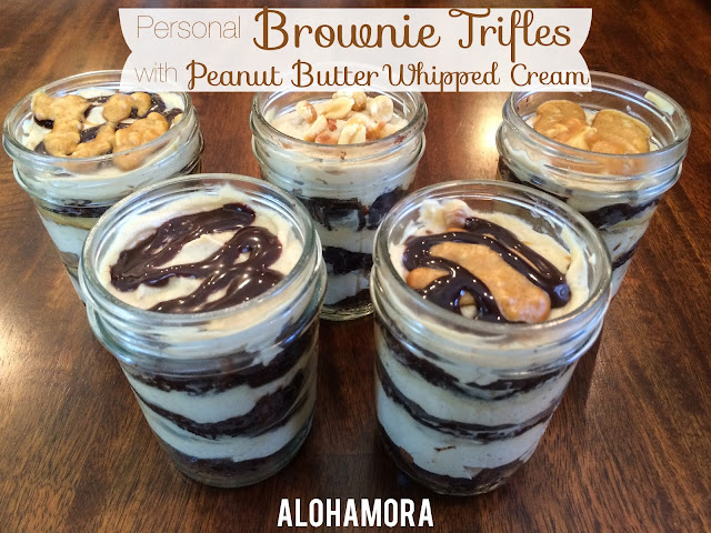 Single serving Personal Brownie Trifles with Peanut Butter Whipped Cream in a Mason Jar.  These trifles are easy to put together, something fun and different, can easily be made ahead of time, and allows for so much variation.  Oh, and you use a brownie mix from a box.  Alohamora Open a Book http://www.alohamoraopenabook.blogspot.com/ easy simple quick fun cold dessert recipe delicious, chocolate and peanut butter, would taste great with cookie butter