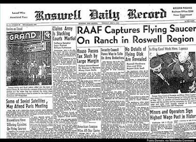 Portada periódico Roswell Daily Record - incidente OVNI Roswell