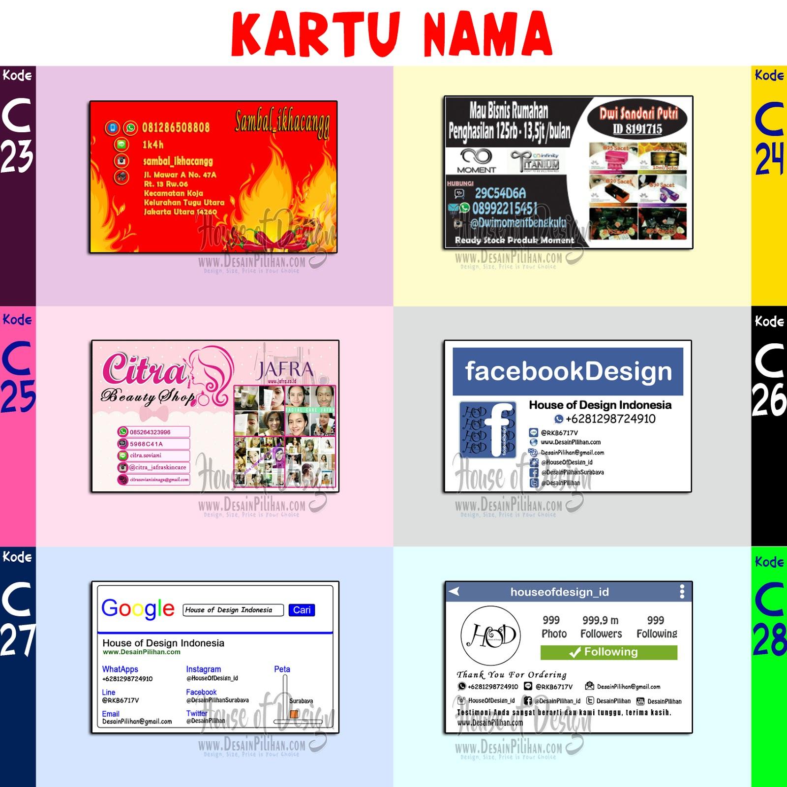 katalog kartu nama, contoh design kartu nama, jual kartu nama murah