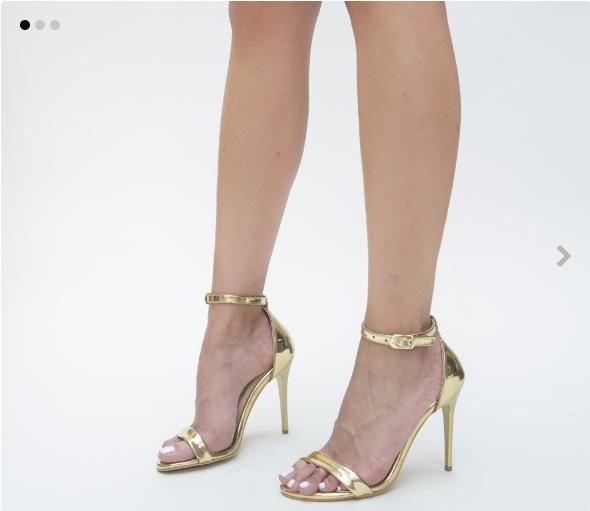 Sandale elgante de ocazii cu toc inalt aurii din piele lacuita