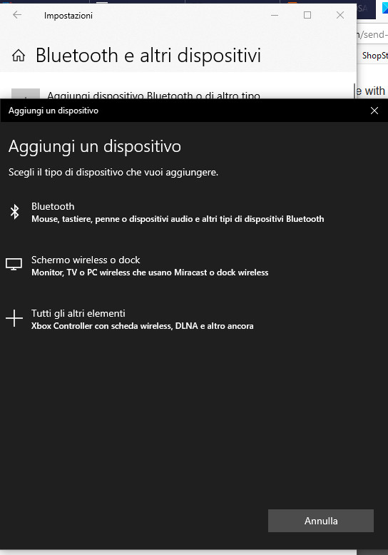 aggiunta dispositivo bluetooth