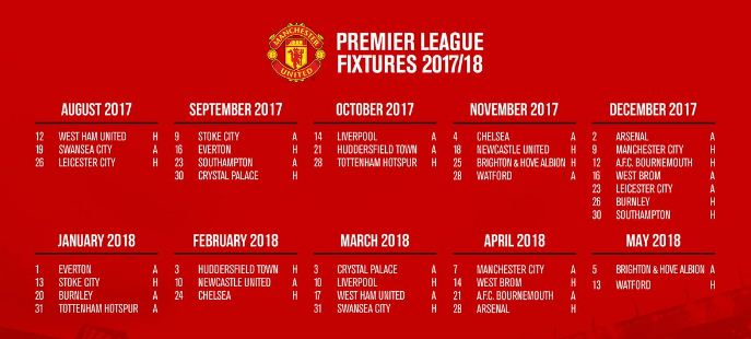 Jadwal Manchester United di Liga Inggris 2017-2018