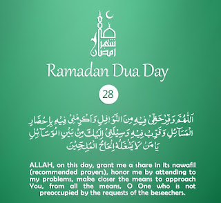 Grant Share in Prayers [Daily Supplications for 30 Days of Ramadan] Dua Twenty-Eighth Day of Ramadan 2018 (Ramzan 2018)=Grant me share in Nawafil (recommended prayers)