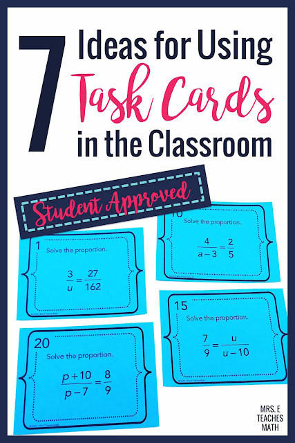 Want ideas about how to use task cards for middle school and high school math?  These free activities, games, and ideas will keep your students engaged!