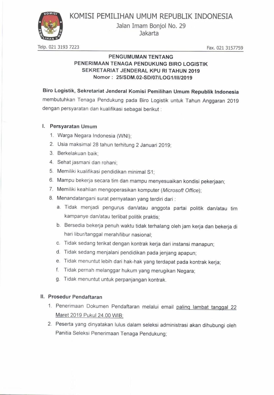 Biro Logistik Komisi Pemilihan Umum Republik Indonesia