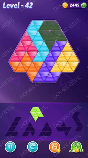 Block! Triangle Puzzle Intermediate Level 42 Solution, Cheats, Walkthrough for Android, iPhone, iPad and iPod
