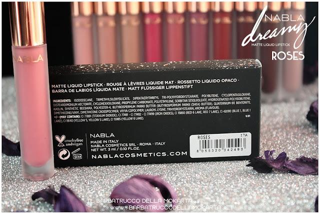 roses Dreamy Matte Liquid Lipstick rossetto liquido nabla cosmetics inci