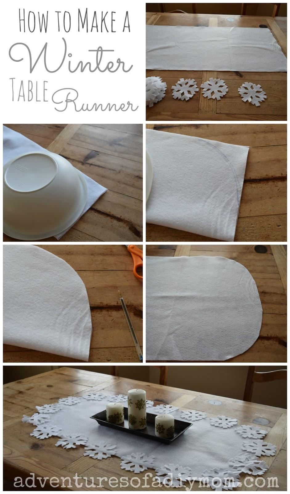 No-Sew Winter Table Runner
