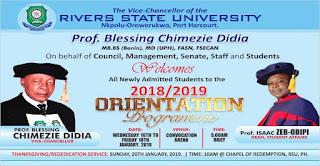 RSUST Orientation Programme Schedule for Freshmen 2018/2019