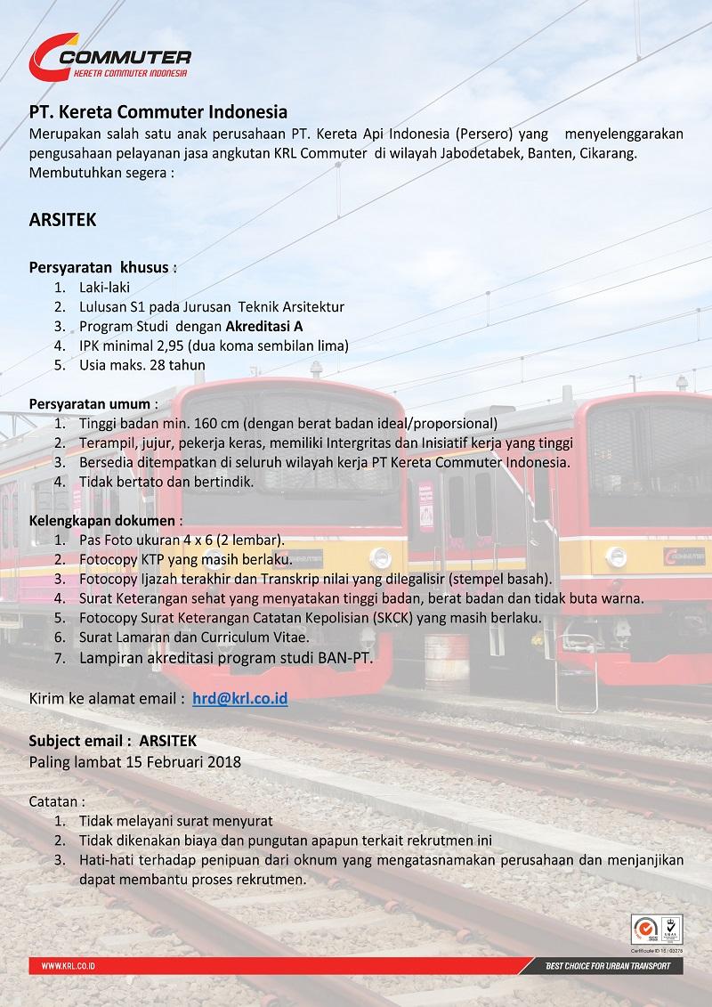 Melamar Lowongan Assitant Manager Pajak dan Arsitek di PT Kereta Commuter Indonesia Januari - Februari 2018