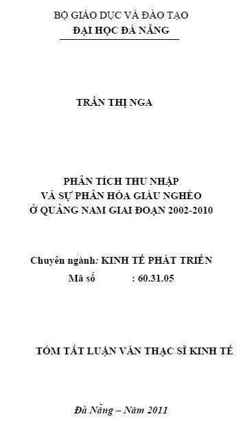 Phân tích thu nhập và sự phân hóa giàu nghèo ở Quảng Nam giai đoạn 2002-2010