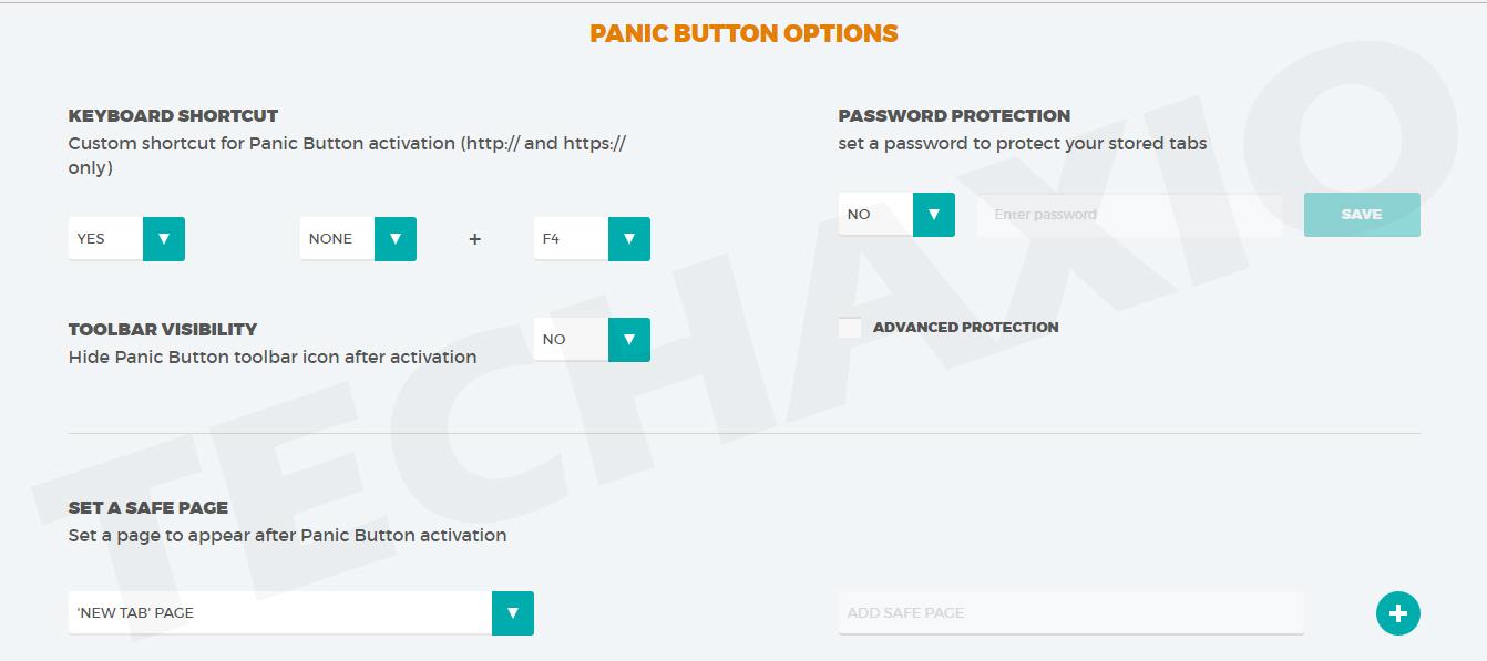 PanicButton extension options