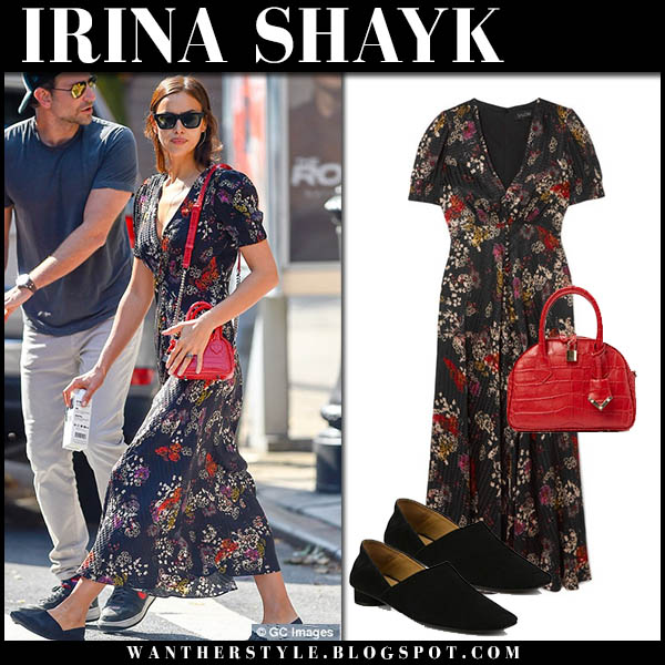 Irina Shayk in black floral print maxi dress saloni with red bag fall street fashion october 4