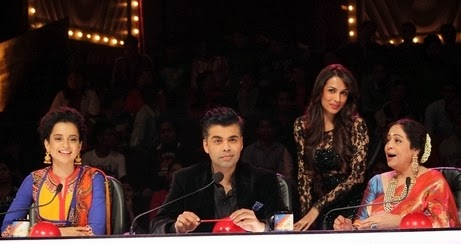 Kangana Ranaut sitting with Karan Johar, Malaika and Kiran Kher, promoting Queen movie at Grand Finale of India's Got Talent