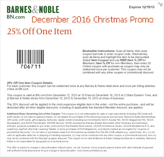 free Barnes and Noble coupons december 2016