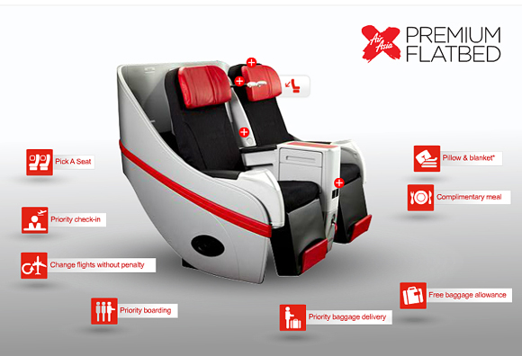 Premium Flatbed Seat on AirAsia X