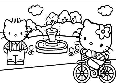 мультперсонаж хелло китти Hello Kitty на велосипеде