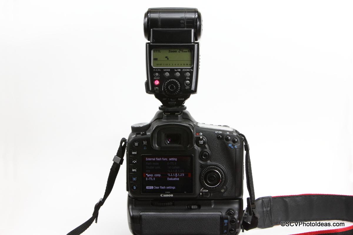 Canon Speedlite 580EX with camera flash menu