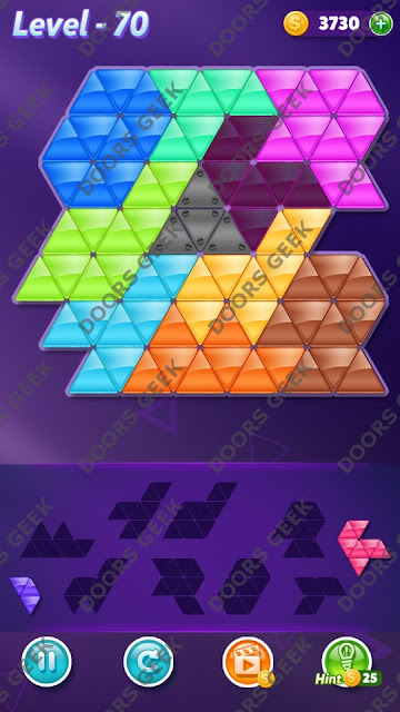 Block! Triangle Puzzle 9 Mania Level 70 Solution, Cheats, Walkthrough for Android, iPhone, iPad and iPod