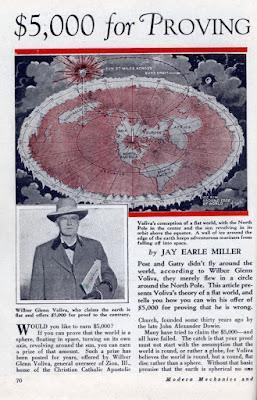 Página de revista con mapa de la Tierra Plana de W.G. Voliva