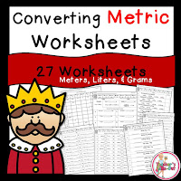 Converting Metric Worksheets using GRAMS METERS and LITERS