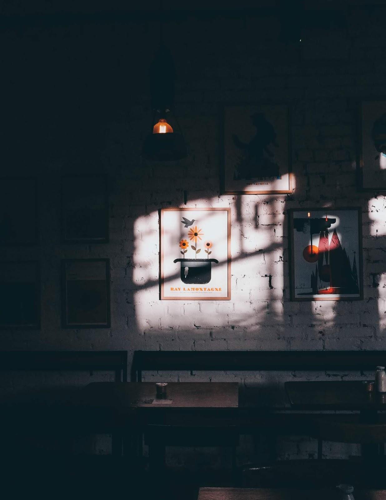 paredes com sombra e quadro de flores