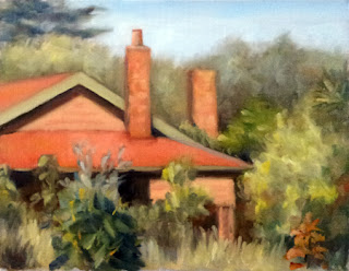 Oil painting of a house with a red roof surrounded by trees and shrubs.