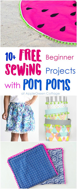 Over 10 cutest free sewing projects with pom poms to make something fun for your home, a friend, a new baby, or yourself! Check them out, these beginner sewing tutorials will make sure there's something new and fun for everyone.