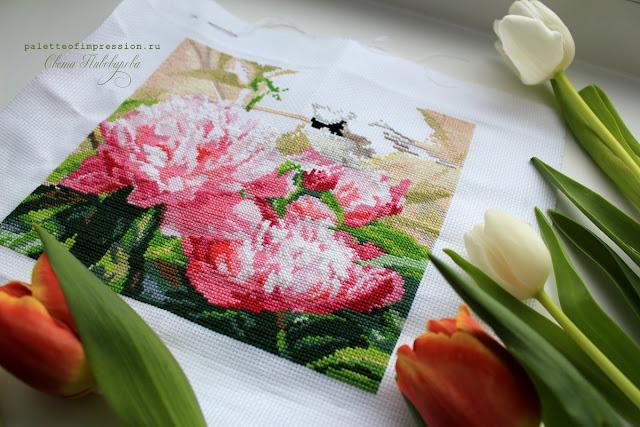 Пионы Вышивка крестом Алиса Процесс Вся палитра впечатлений Весенняя вышивка Весеннее настроение