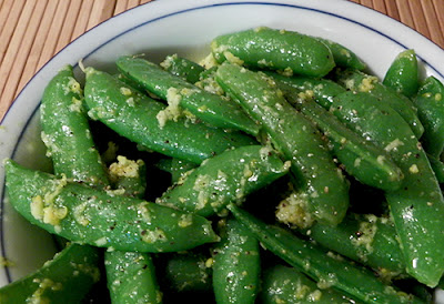Closeup of Snap Peas with Lemon and Ginger