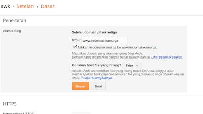 Selanjutnya kita coba lagi masukkan domain, jika berhasil maka akan muncul pesan berhasil. dan buka lagi lalu centang untuk mengalihkan domain.ga ke www.domain.ga (jika ada orang mengakses domain tanpa www maka akan diredirect ke www secara otomatis)